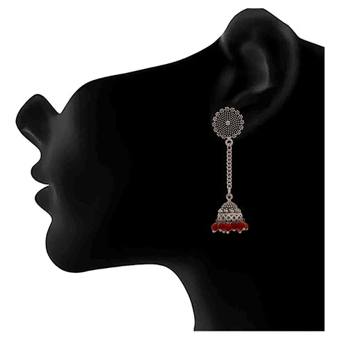 JFL - Traditional Ethnic Handmade German Silver Plated Oxidised Bead Earring for Women & Girls.