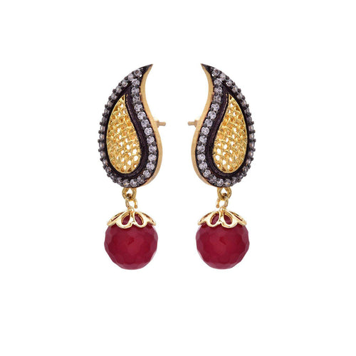 JFL - Gorgeous Kaerie Designer Red One Gram Gold Plated American diamond Cz & Meenakari Earring for Girl & Women