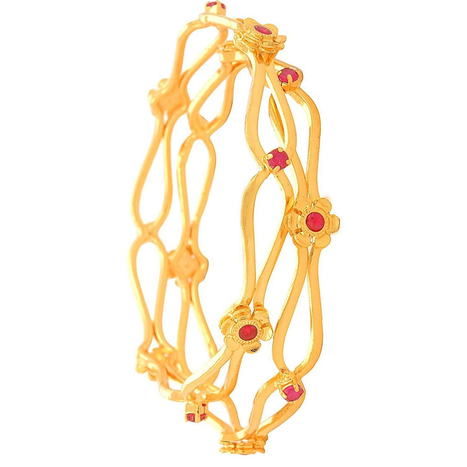 Traditional Floral One Gram Gold Plated Designer Bangles With Cz Diamonds.