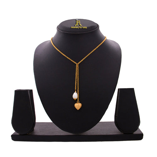 JFL - Golden Heart and Pearl Fusion One Gram Gold Plated Valenting Designer Chain for Girls & Women.
