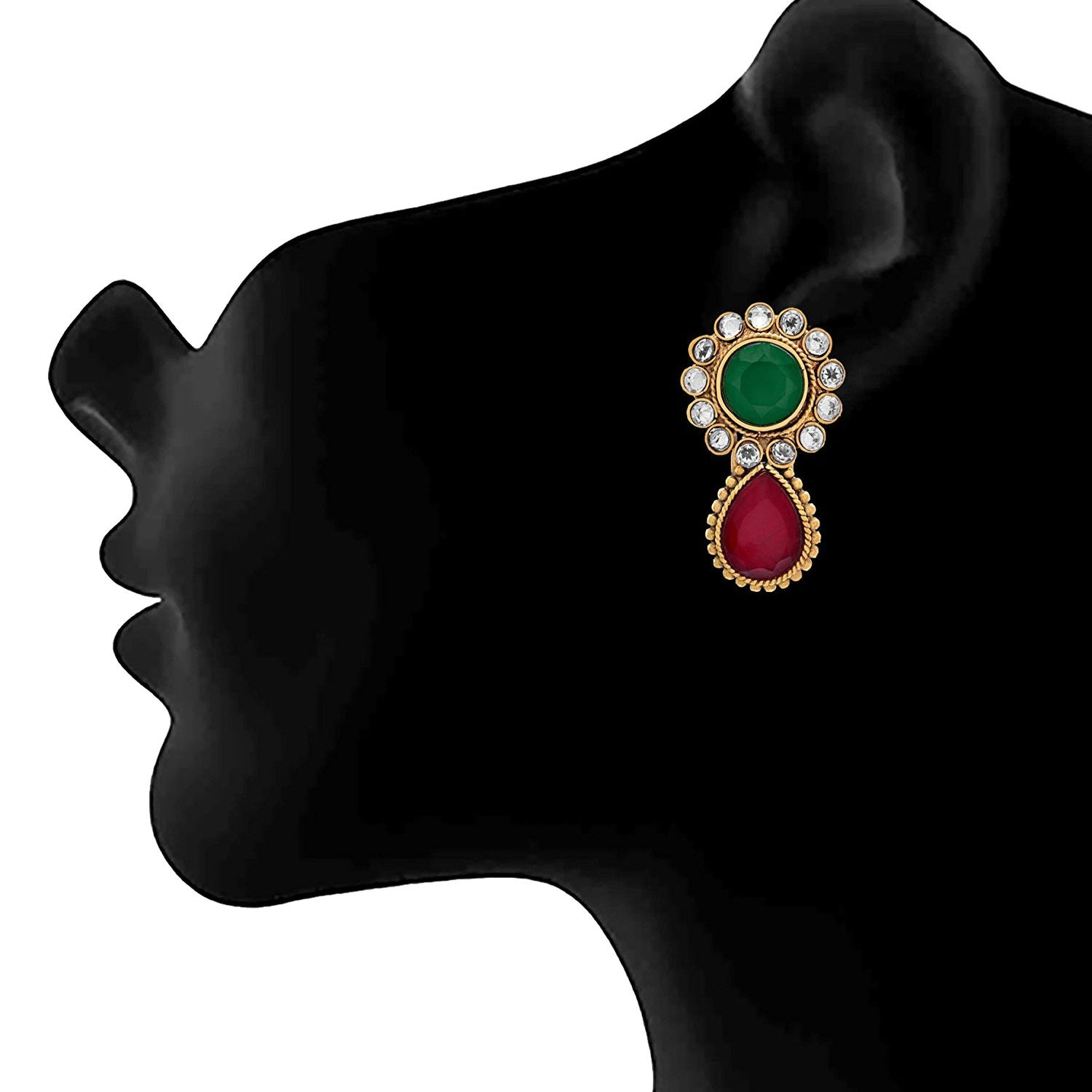 JFL- Traditional and Ethnin One Gram Gold Plated Diamond Red Green Stone Designer Earring for Women.