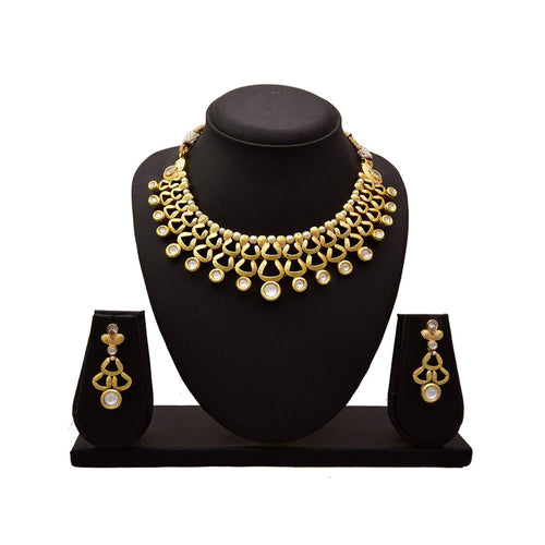 JFL - Traditional Ethnic One Gram Gold Plated Kundan Pearl Designer Necklace Set for Girls and Women.