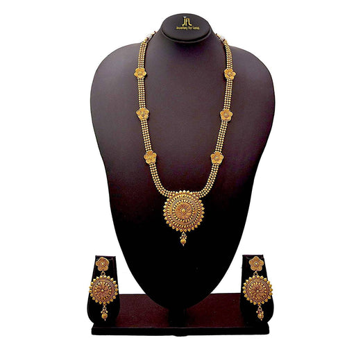 JFL - Jewellery For Less Traditional Ethnic One Gram Gold Plated Bead Spiral Long Necklace  Set For Women