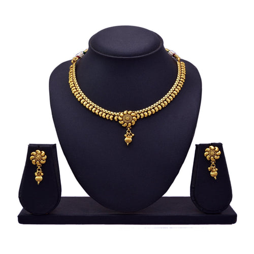JFL - Traditional and Ethnic One Gram Gold Plated Kaerie Designer Necklace Set with Earring for Women & Girls
