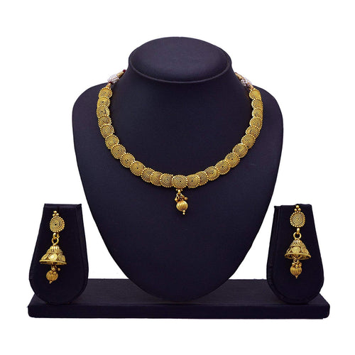 JFL - Traditional & Ethnic Stunning Spiral One Gram Gold Plated Designer Necklace Set/Jewellery Set with Jhumka for Girls and Women