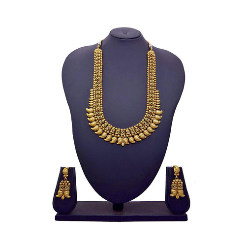 Jfl - Jewellery For Less Traditional Semi Bridal One Gram Gold Plated Kaerie Long Necklace Set For Women & Girls