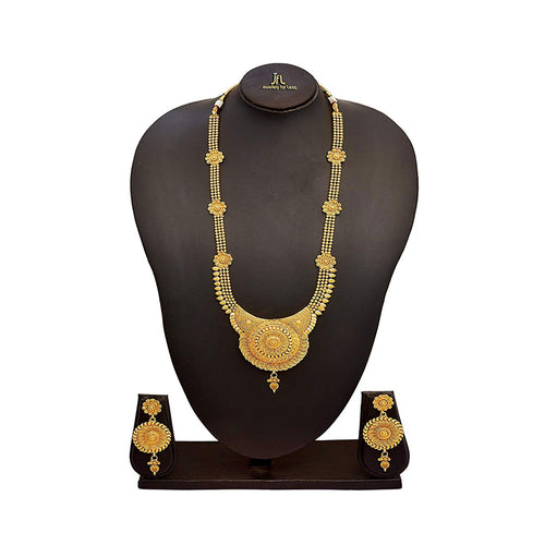 JFL - Traditional Ethnic One Gram Gold Plated Beads Designer Long Necklace Set for Women and Girls