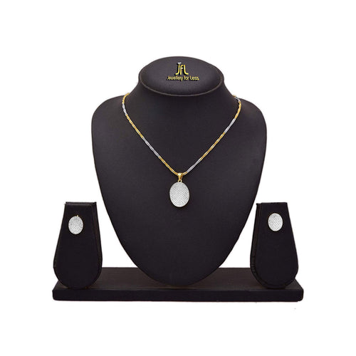 JFL - Jewellery for Less Beautiful American Diamond Pendant Set with Chain for Women & Girls