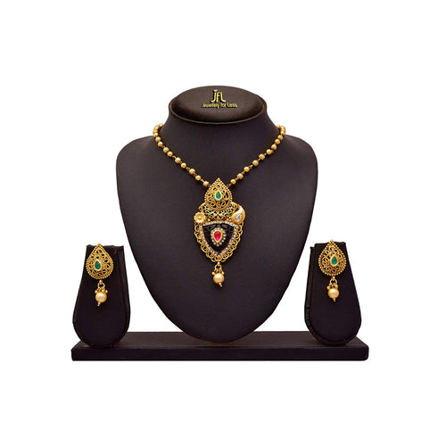 JFL - Traditional Ethnic One Gram Gold Plated Austrian Diamond Pink Green & Black Designer Pendant Set with Chain for Girls and Women.