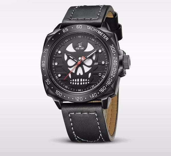 Men's Leather Strap Skull Watch