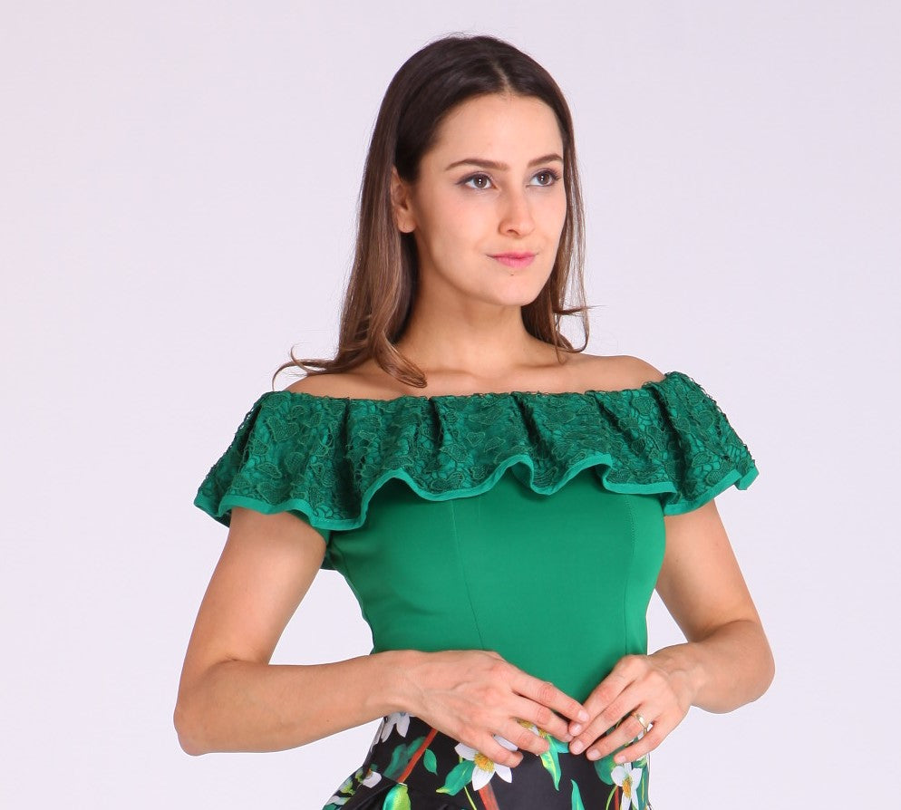 Green Off shoulder with Embroidered Floral Design