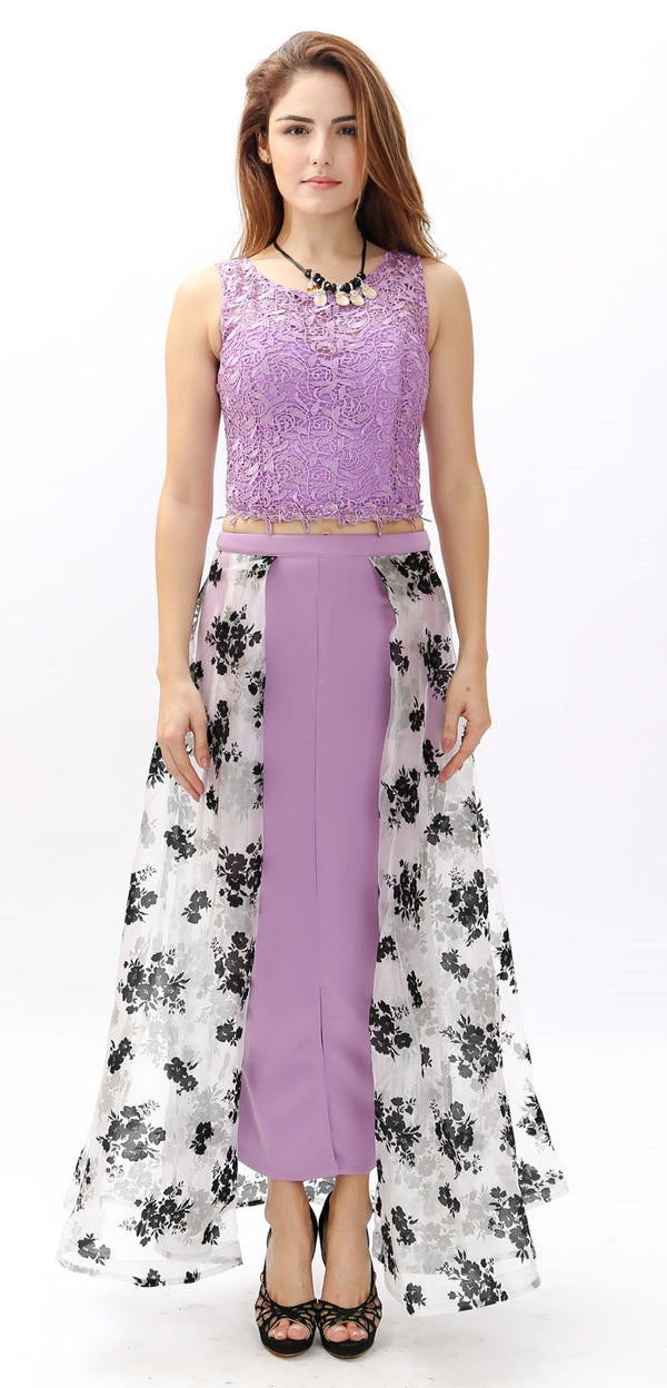 Violet Sleeveless with Floral Design
