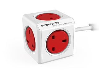 Allocacoc PowerCube Extended 3m cable UK - RED