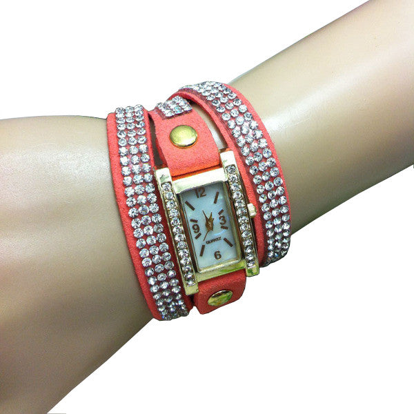 Casual Women Long Strap Crystal Bracelet Quartz Watch