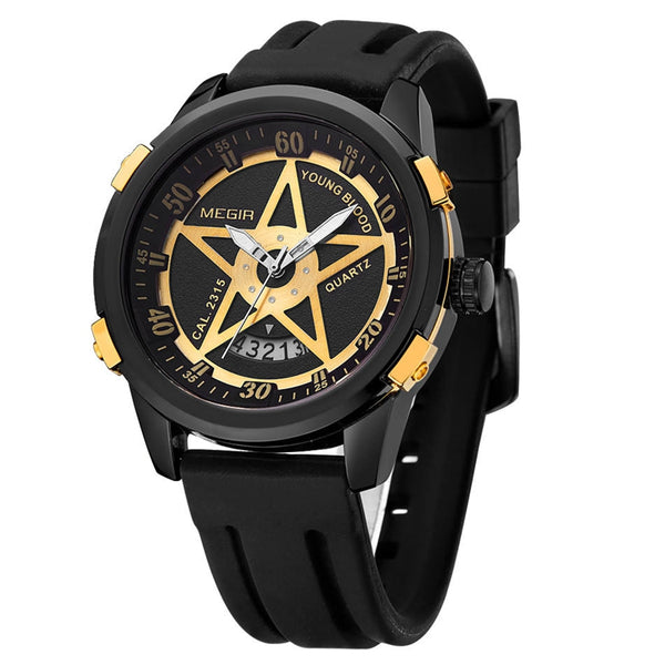 MEGIR 1073 Men Watch Fashion Pentagram Military Male Quartz Wrist Watch