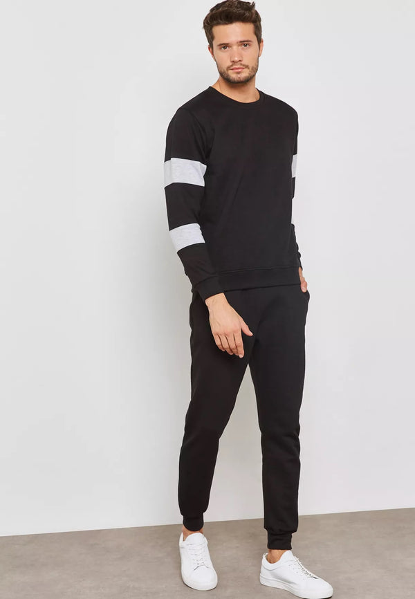 FIFTEEN MINUTES Colour Block Crew Neck Tracksuit