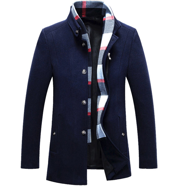 Mens Winter Wool Jacket Scarf Business Mid-long Jacket