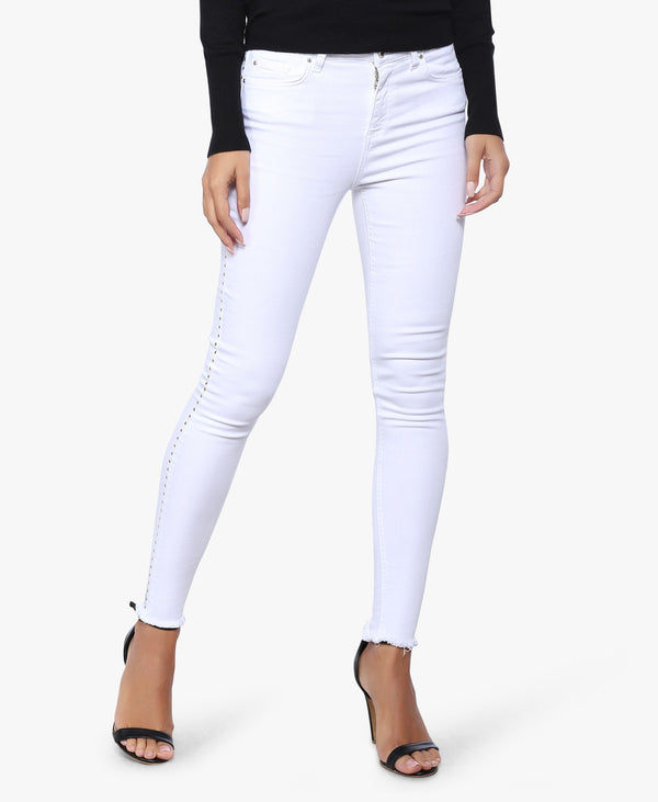 White Side Detailed Skinny Jeans