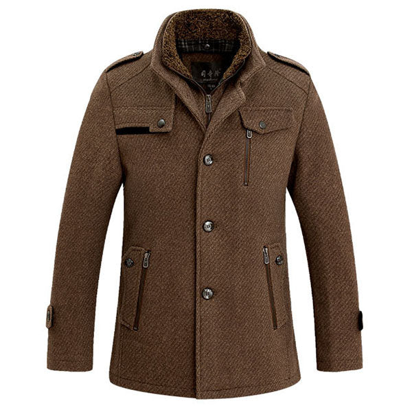 Stand Collar Woolen Overcoat Winter Trench Coat for Men