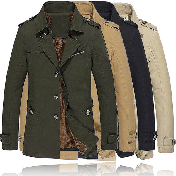 Winter Velvet Plus Thick Warm Military Style Outdoor Jacket Slim Fit Men Parkas Coat