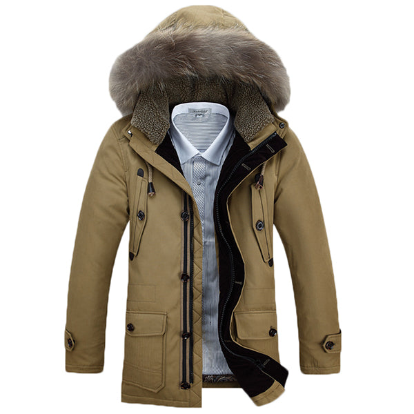 Winter Warm Down Jacket Furry Collar Detachable Hood Zipper Button Multi Pockets Men Parkas