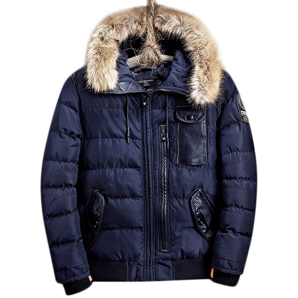 Winter Warm Thickened Fashion Casual Furry Hood Jackets Parkas for Men