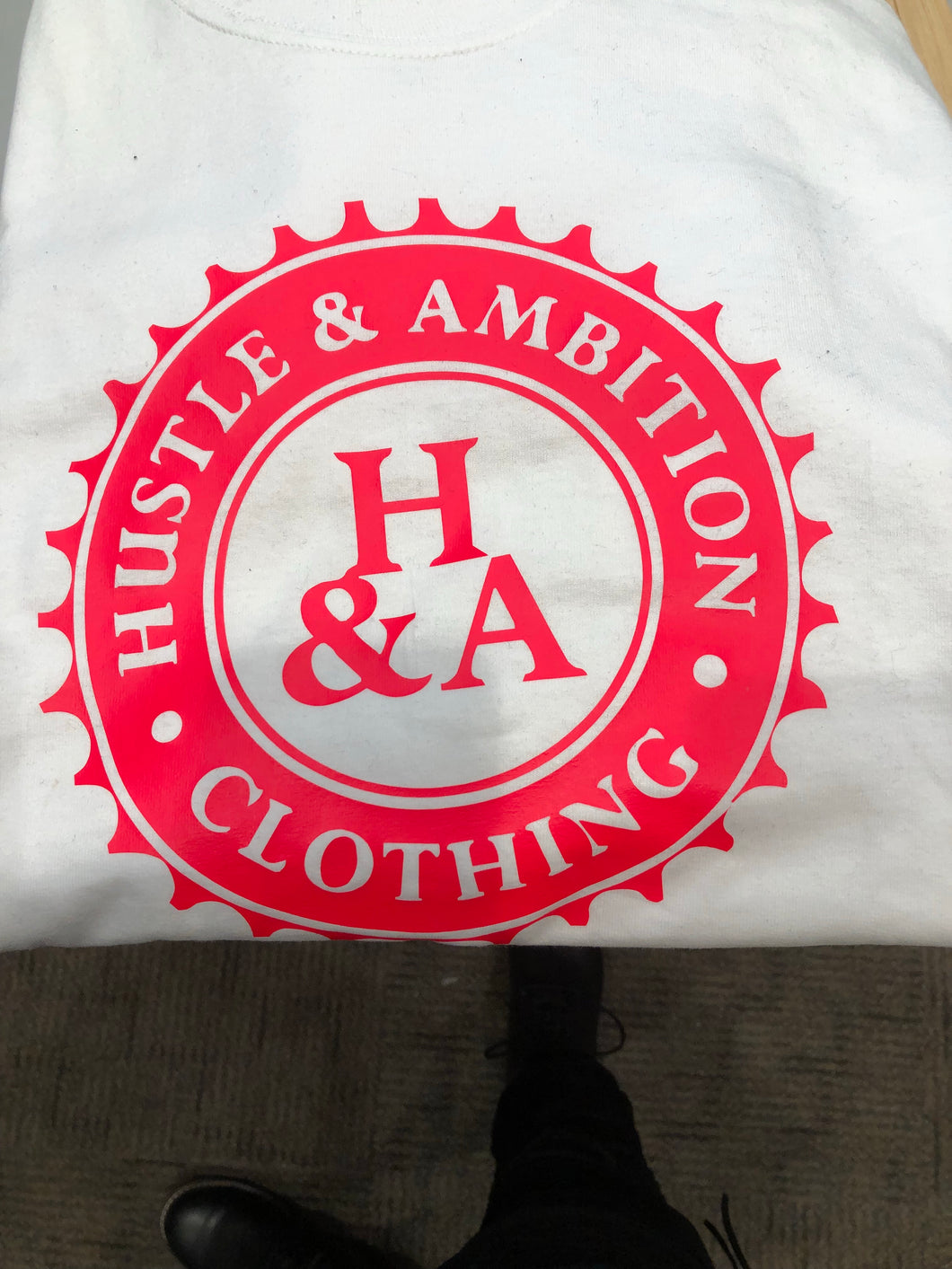 White Long sleeve Hustle&Ambition shirt