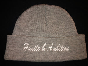 Grey Hustle&Ambition Skully Hat