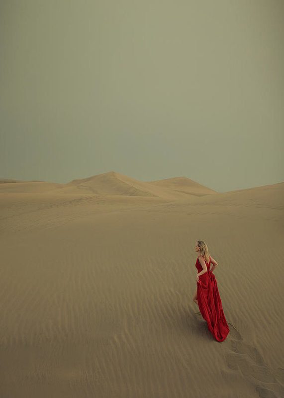 Beautiful blonde woman in red dress walking in the desert