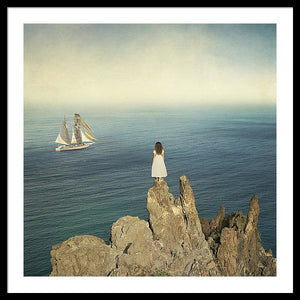 Woman On The Cliff - Framed Print