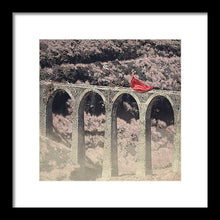 Load image into Gallery viewer, Woman in red dress walking on the edge of an aqueduct
