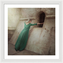 Load image into Gallery viewer, Blonde woman in green long dress giving her hand to prisoner in the dungeon