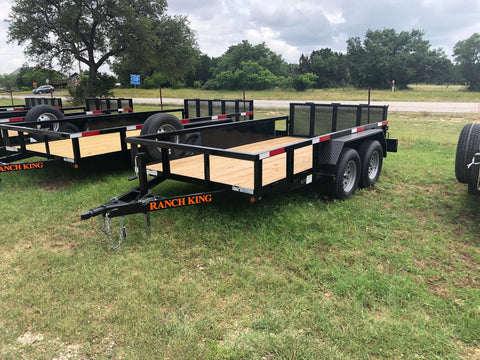 Ranch King 6x12 Double Axle Utility Trailer with bifold- 2186