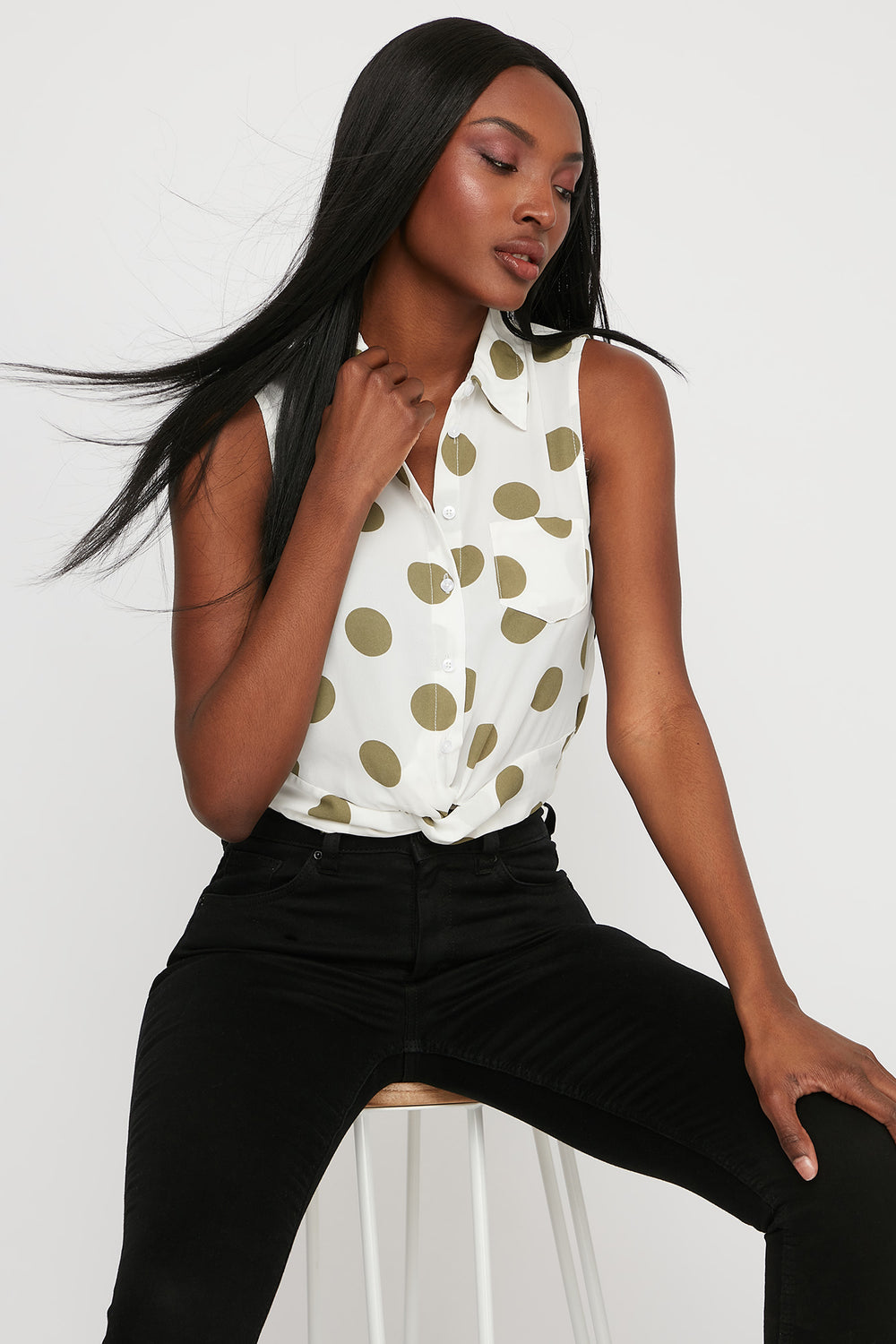 Polka Dot Front Twist Button-Up Cropped Sleeveless Blouse Dark Green