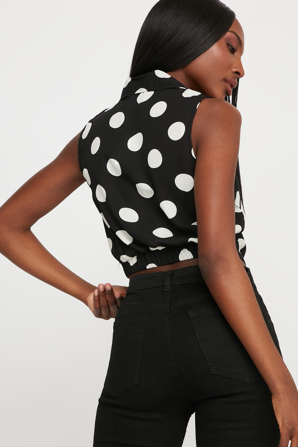 Polka Dot Front Twist Button-Up Cropped Sleeveless Blouse Ivory