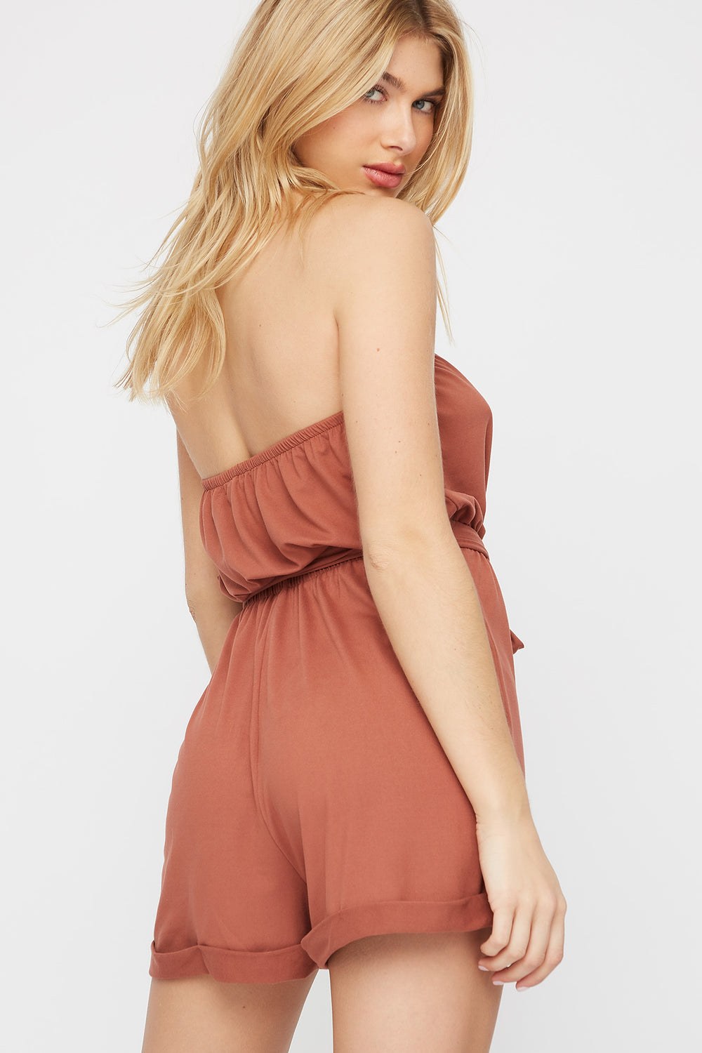 Soft Tube Button Belted Romper Brown