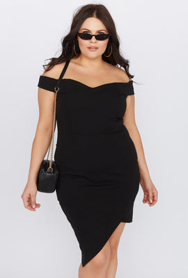 f81eb1cd4575 Plus Size Off the Shoulder Asymmetrical Mini Dress