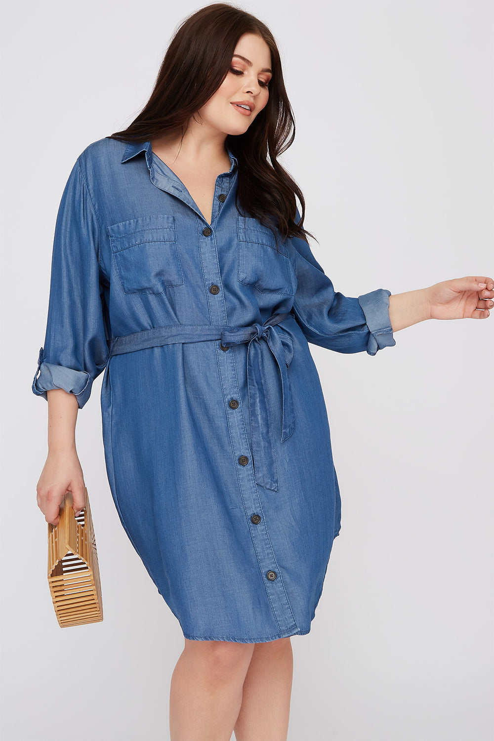 Plus Size Chambray Button-Up Shirt Dress Dark Blue