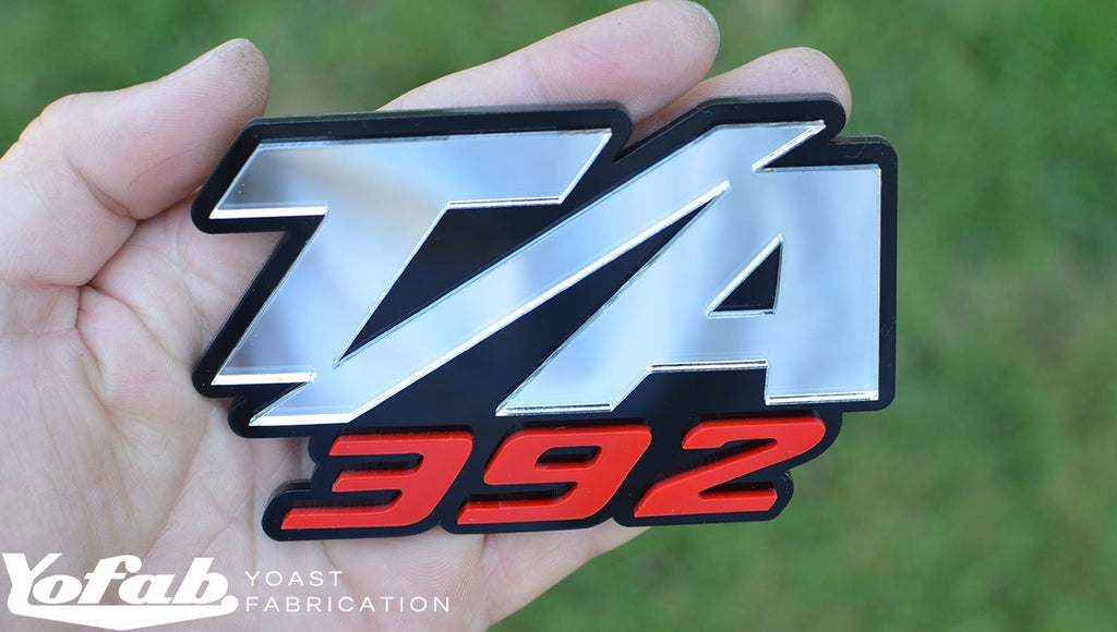 Custom made T/A 392 Emblem with black, chrome and red layers