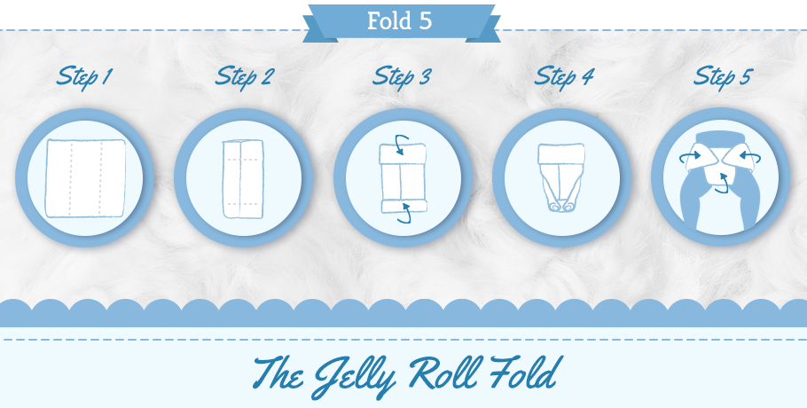 diaper jelly roll fold step by step graphic