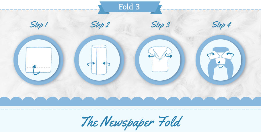 diaper newspaper fold step by step graphic