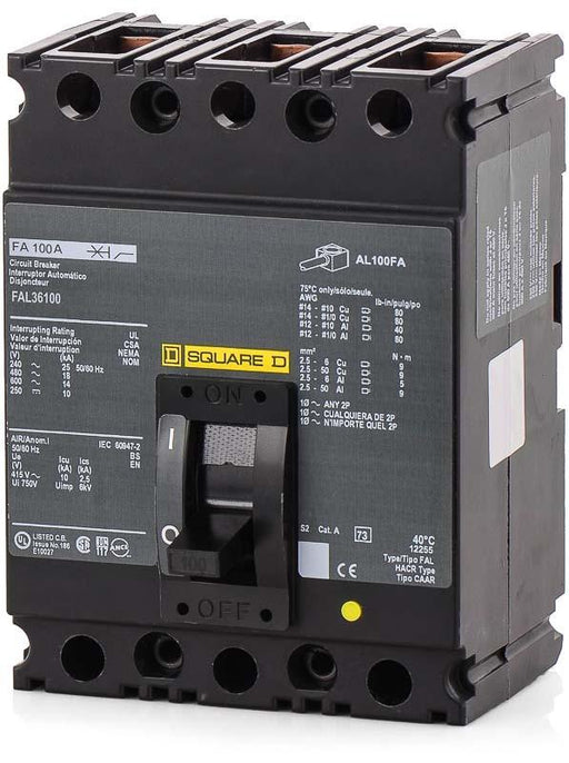 FAL36100 - Square D 100 Amp 3 Pole 600 Volt Lug Molded Case Circuit Breaker