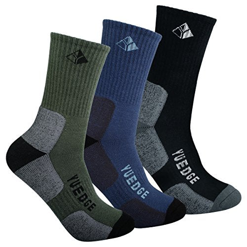 YUEDGE Men's Cushion Crew Socks Outdoor Recreation Multi Performance Trekking Climbing Backpacking Hiking Socks (XL, 3 Pairs)