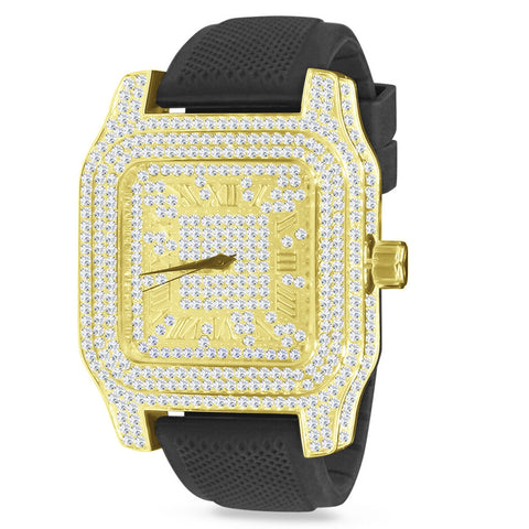 Goldplated Iced Out King Square XXL horloge