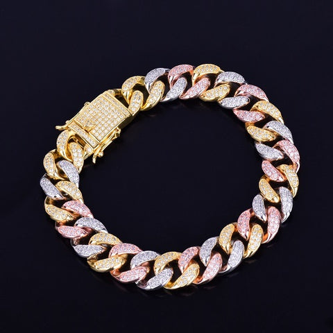 12mm Multi-Kleur Miami Cuban Armband - ICED OUT