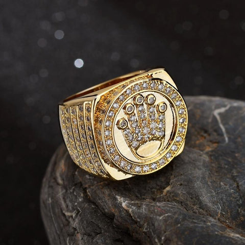 Goldplated Iced Out Kroon Ring