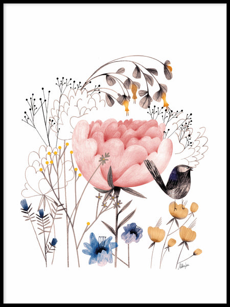 Poster: Bird among flowers, by Adelina Lirius