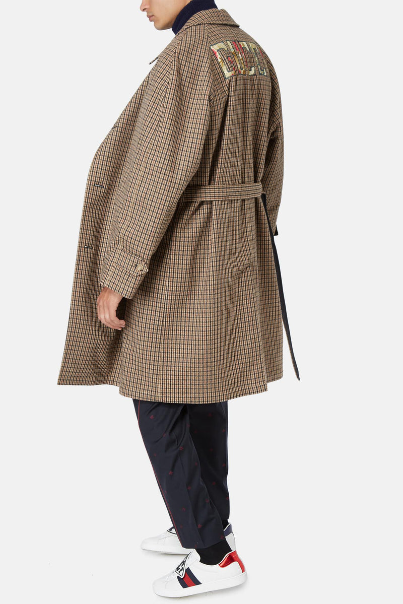 Manteau à carreaux en laine