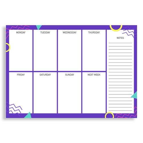 Photo of weekly planner with notes section for Altitude Media online shop