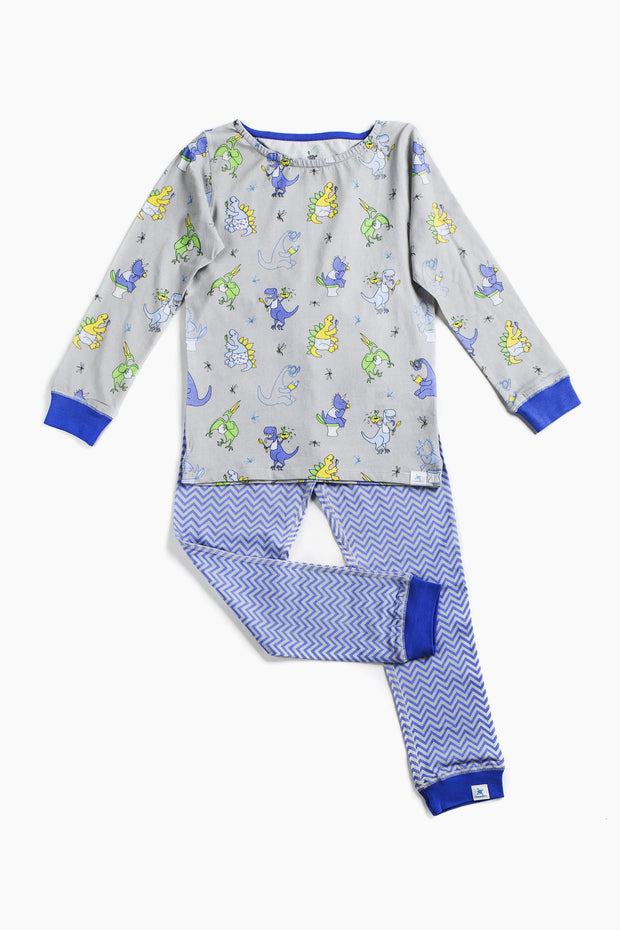 """BUSY DINOS BLUE"" - Shop Organic kids clothing, sheets, bedding, pyjamas, underwear & more"
